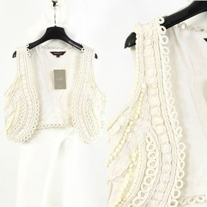 Ranna Gill Anthropologie Embroidered Cropped Vest